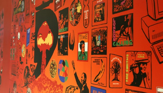 Springfield School Future wall detail1 includes the atom bomb, album covers by Elvis Presley, the Clash, the Velvet Underground, Bob Dylan and the Beatles, sculpture by barbara hepworth, Time magazine cover featuring indira gandhi, The Snail by Henri Matisse, Roald Dahl's Fantastic Mr Fox and Martin Luther King's I have a dream speech