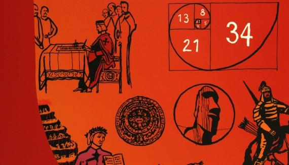 Springfield School history timeline wall detail6 including king john signing magna carta, Mayan Calendar, Dante's Inferno, Fibonacci numbers and Moai - Easter Island heads
