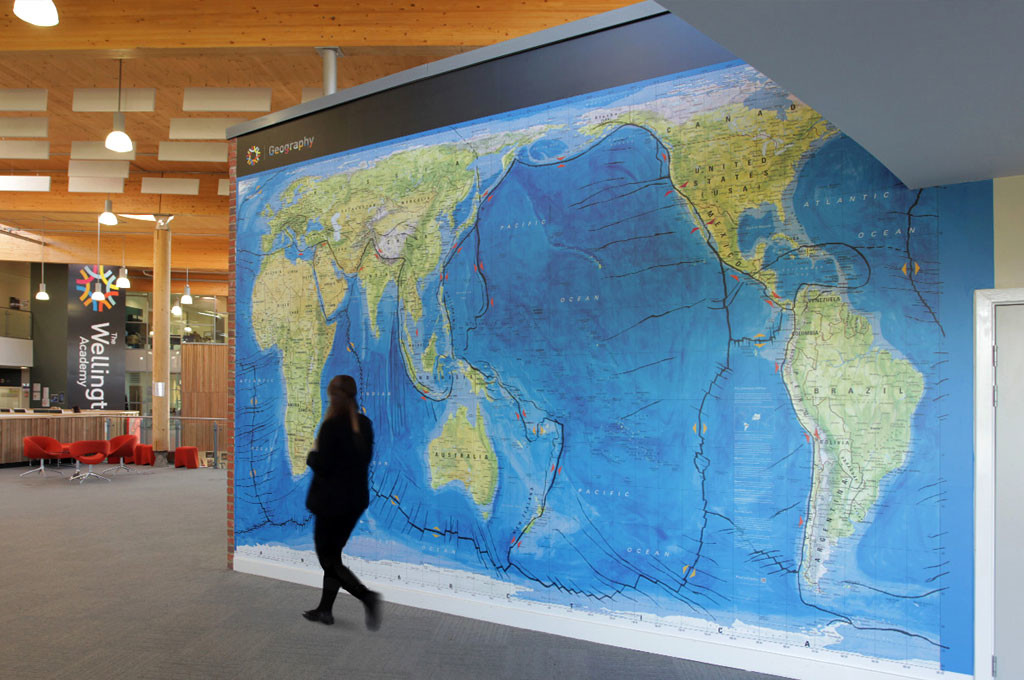 School wall graphics geography world map