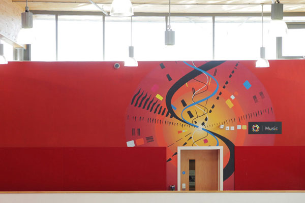 School wall graphics showing music department