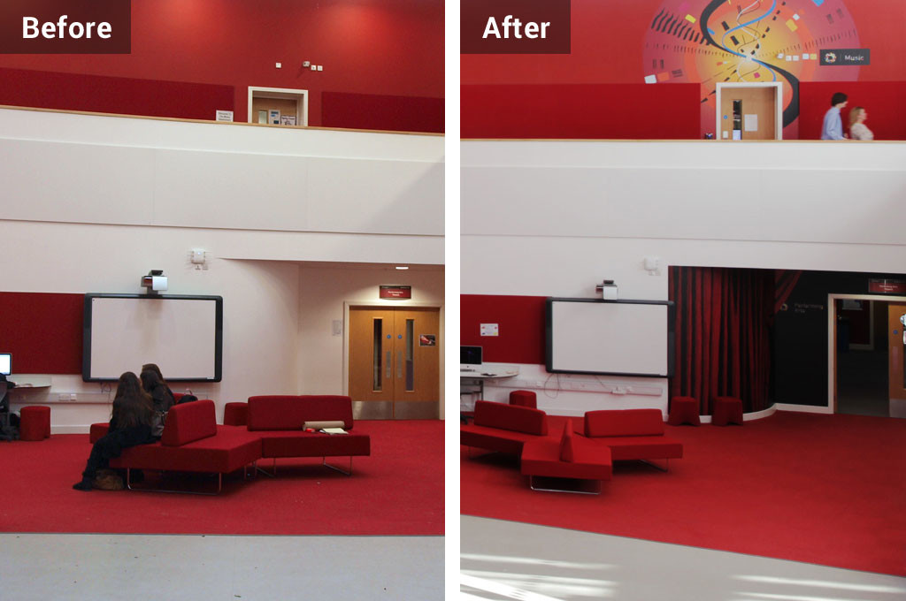 School wall graphics wayfinding before and after graphics installation