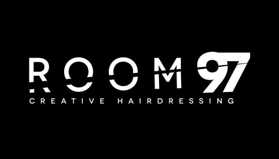 Room 97 full logo with creative hairdressing strapline reversed white on black version
