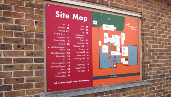 Springfield School site map sign after rebrand 2014