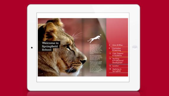 Springfield School prospectus intro spread showing lion