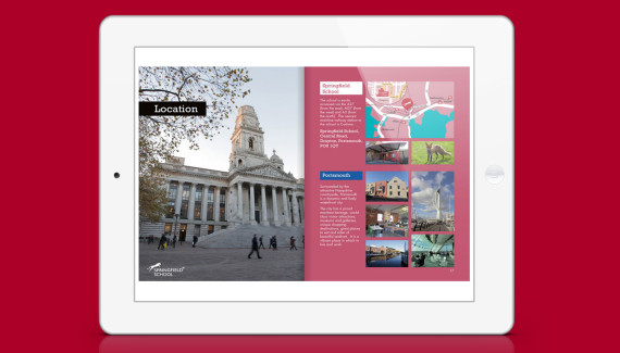 Springfield School prospectus location spread showing pictures of Portsmouth
