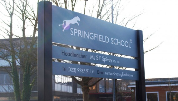 Springfield School new sign after rebrand 2014