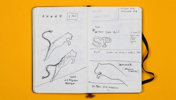 Springfield School Rebrand logo designs in sketchbook by Shadric Toop