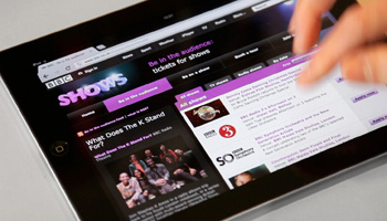 BBC Shows Tours and Events website on an ipad
