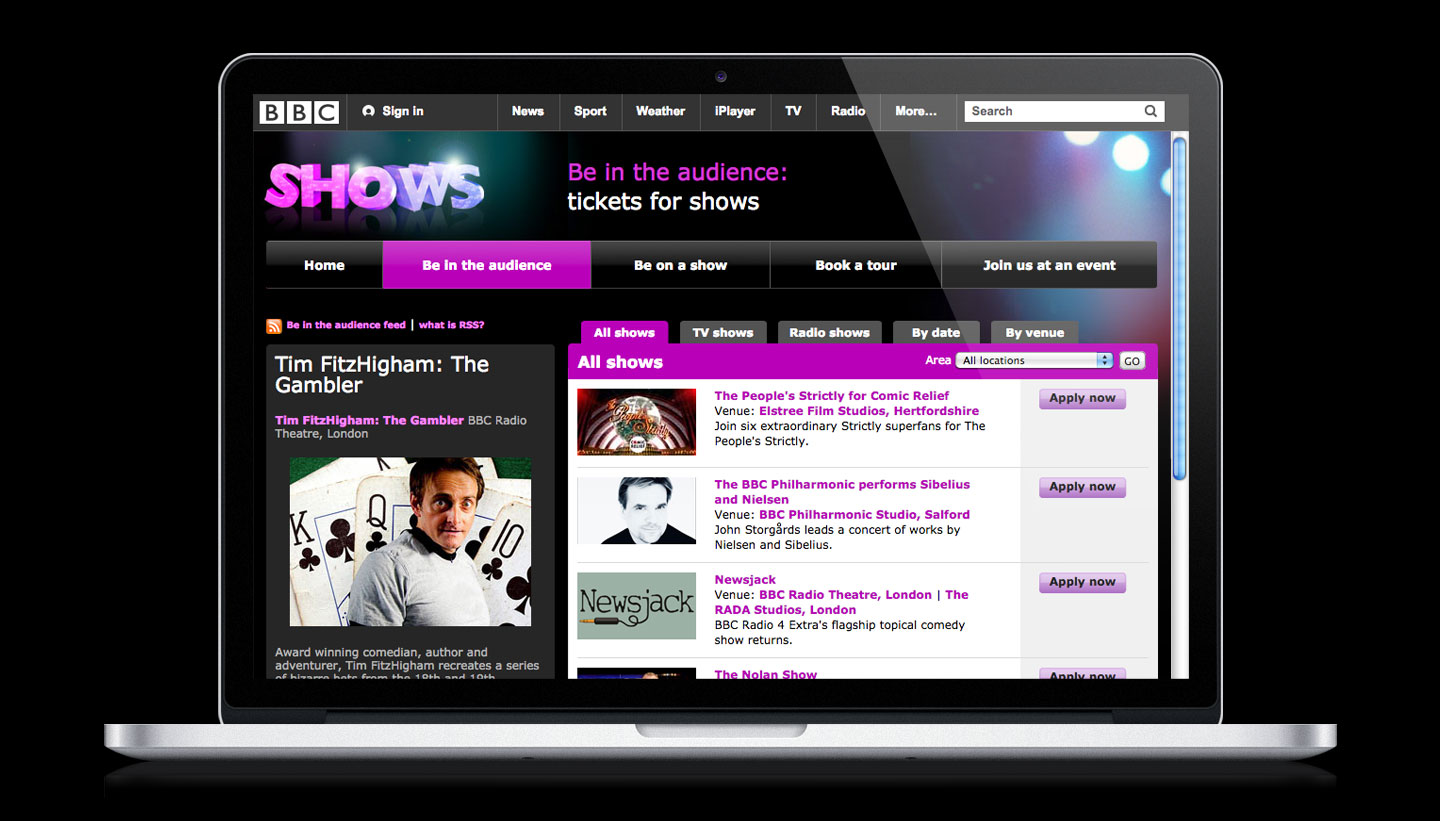 BBC Website Design - Shows Tours and Events - designed by Brighton designers Toop Studio
