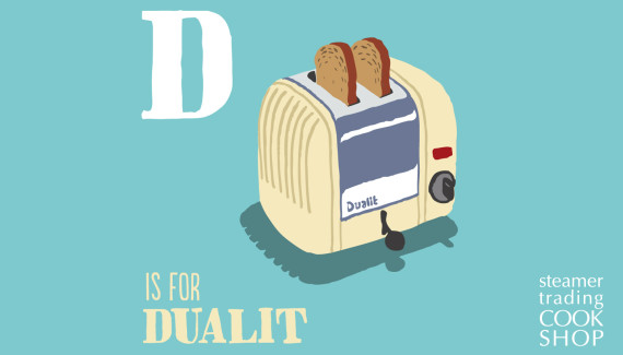 Steamer Trading Cookshop illustration of Dualit toaster by Shadric Toop
