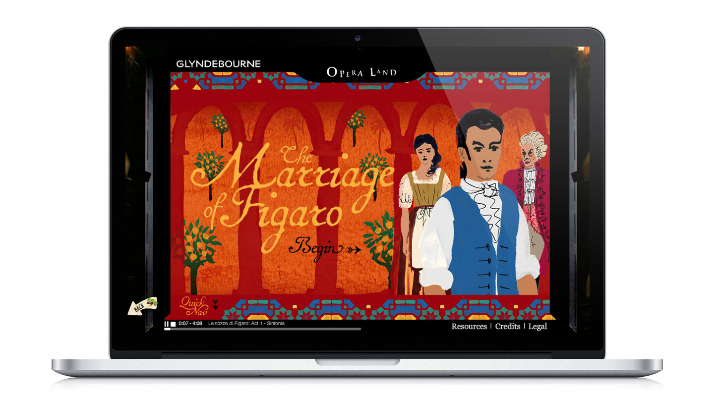 Glyndebourne Operaland website showing The Marriage of Figaro illustrated title screen