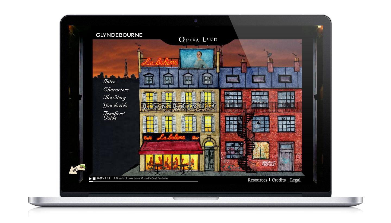Glyndebourne Operaland website showing La Boheme page