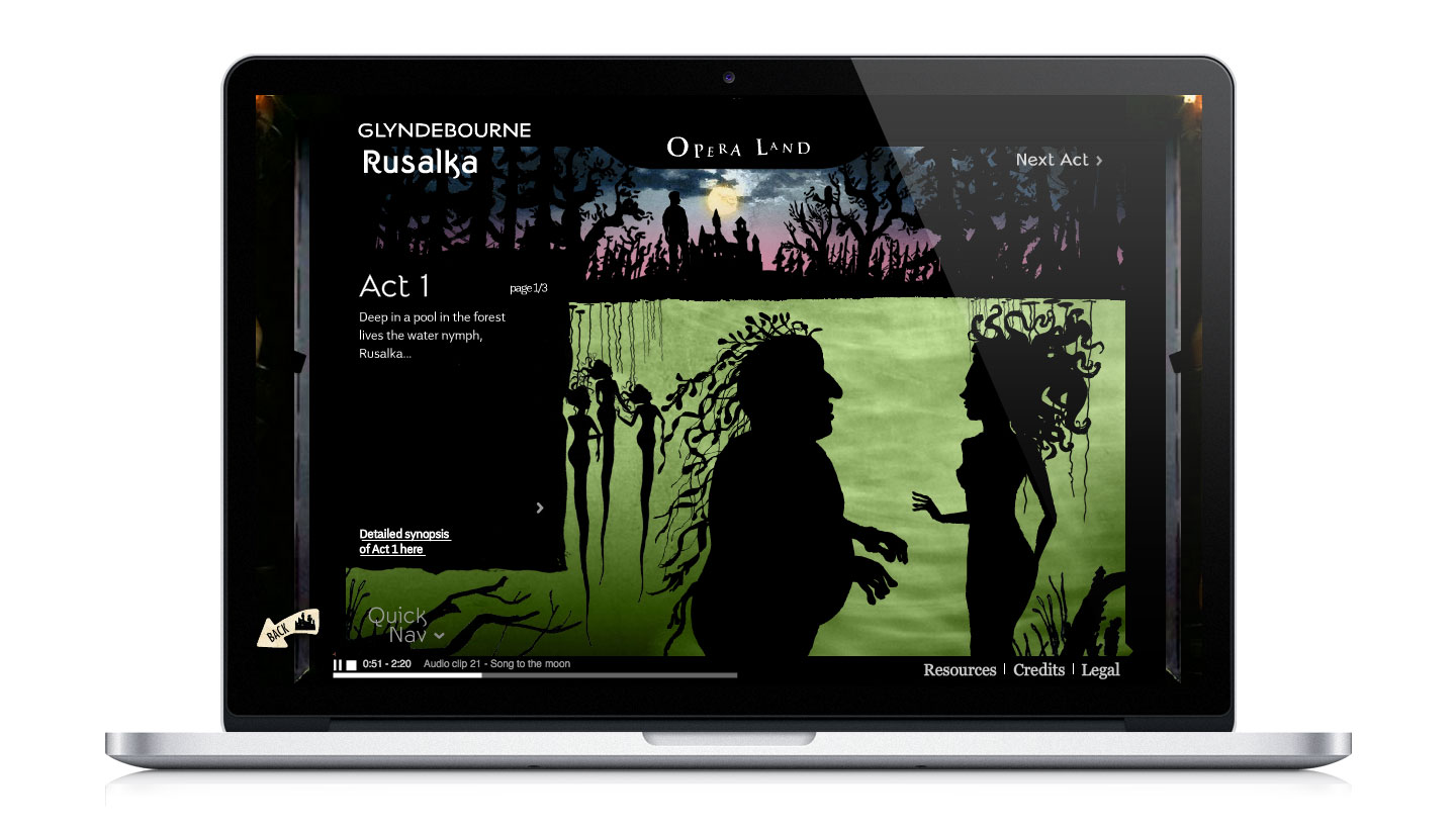Glyndebourne operaland website showing Rusalka page with shadow puppet illustrations of the underwater characters