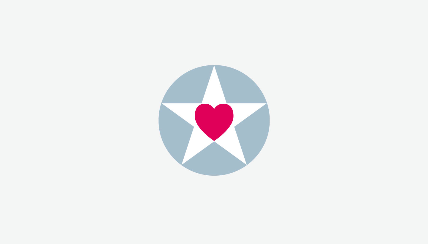 Gorgeous PR heart and star logo