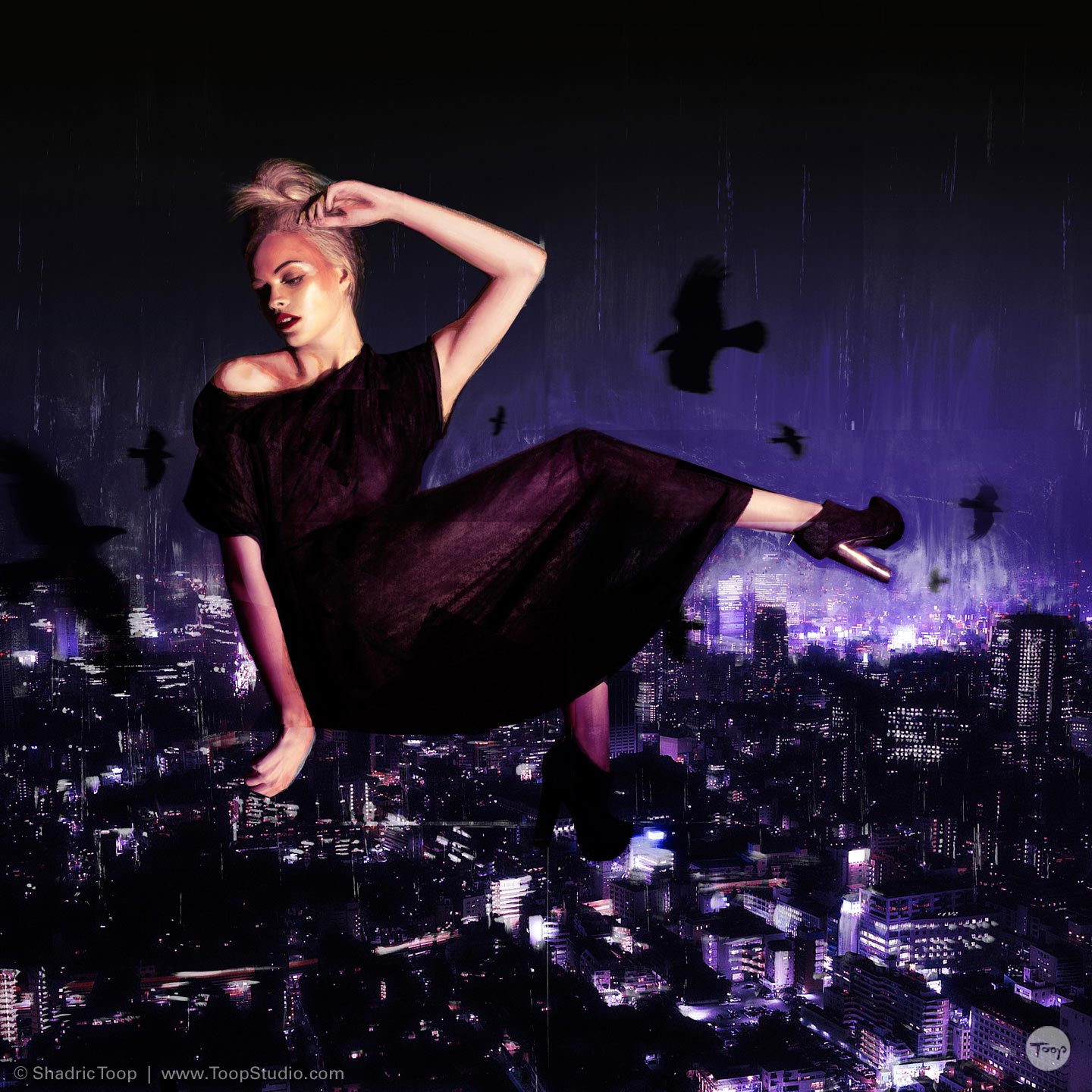 Painted photographic collage of model floating in night sky with city below - Photography Art Direction and illustration by Shadric Toop Brighton