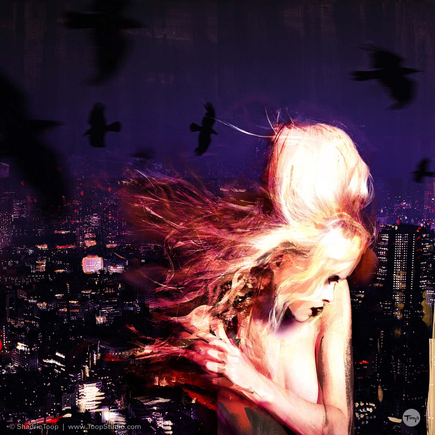Painted photographic collage of model at night with city behind - Photography Art Direction and illustration by Shadric Toop Brighton