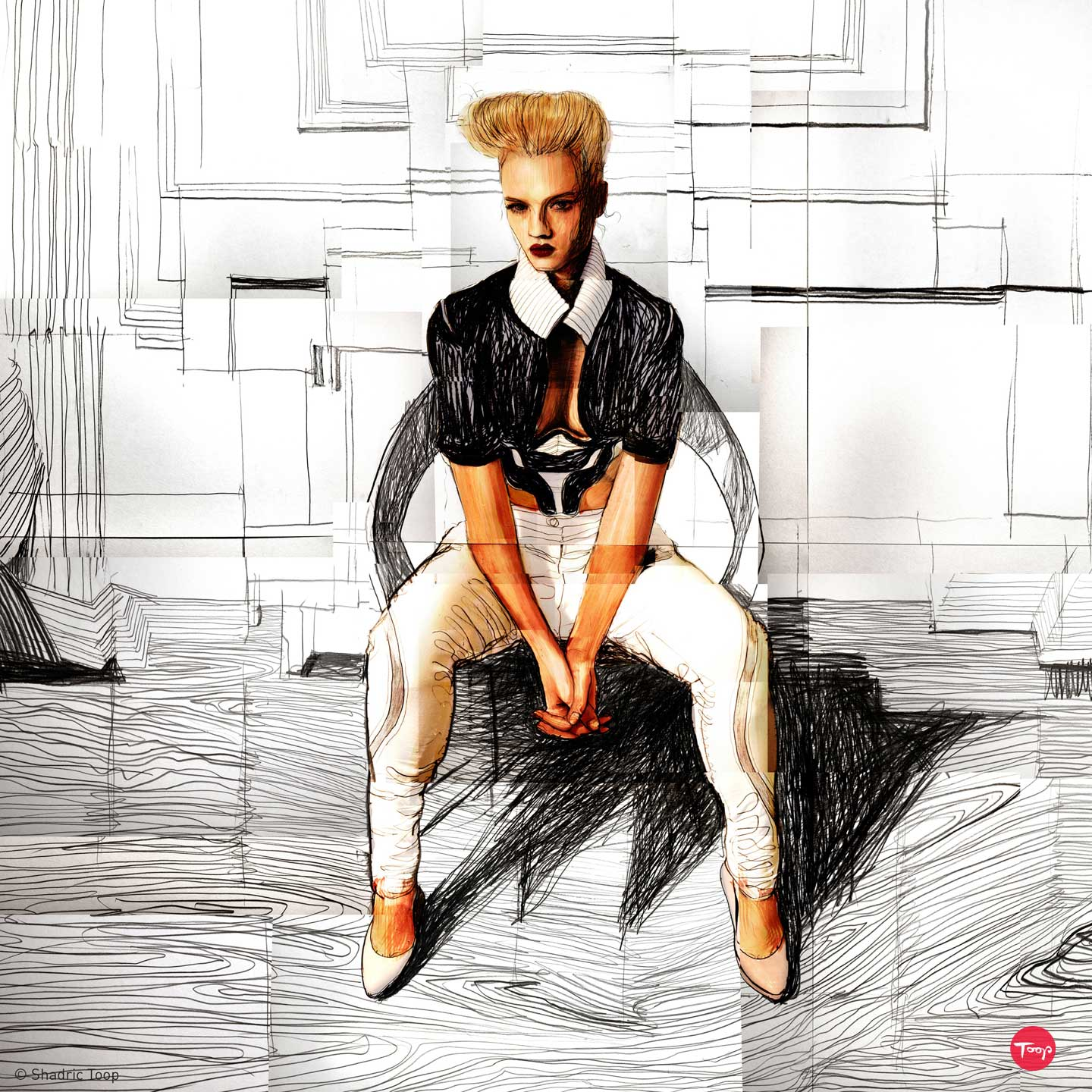 Fashion drawing meets photography by Shadric Toop