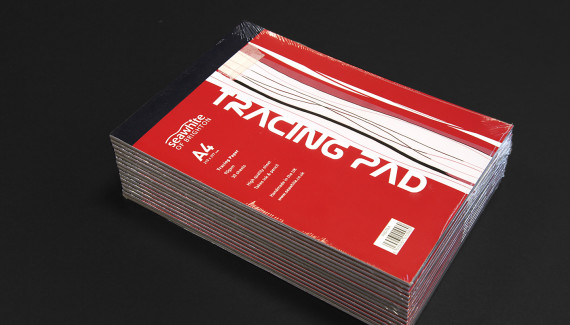 Stack of red Seawhite tracing pads