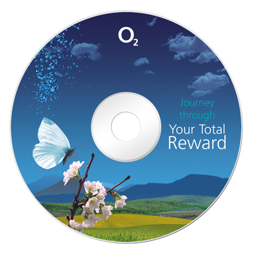 O2 Your Total Reward CD-ROM artwork - showing butterfly sitting on blossom with O2 bubbles