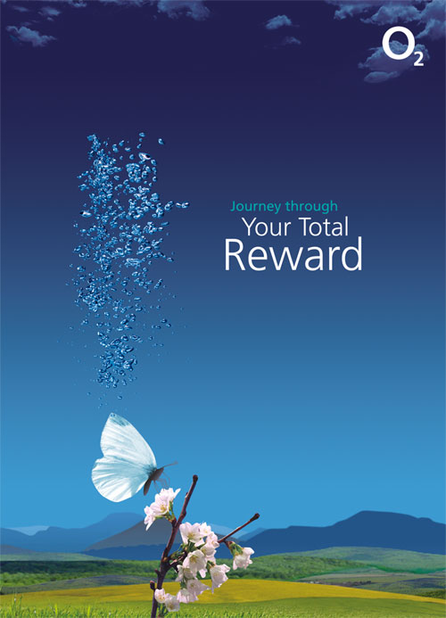 O2 folder design front cover - Your Total Reward - branding features white butterfly on blossom against O2 blue sky