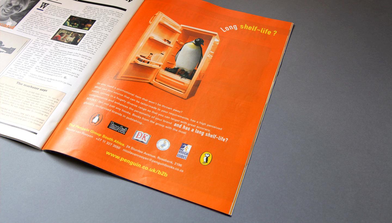 Penguin Books sales trade magazine ad with fridge