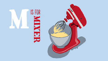 Steamer Trading Cookshop illustration of a red Kitchenaid Mixer by Shadric Toop