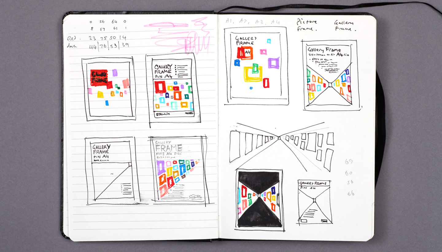 Page from Shadric Toop's design sketch book showing Seawhite Gallery Frame branding
