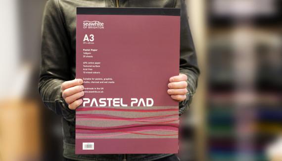 Seawhite sketchbook pastel pad with branding by Toop Studio