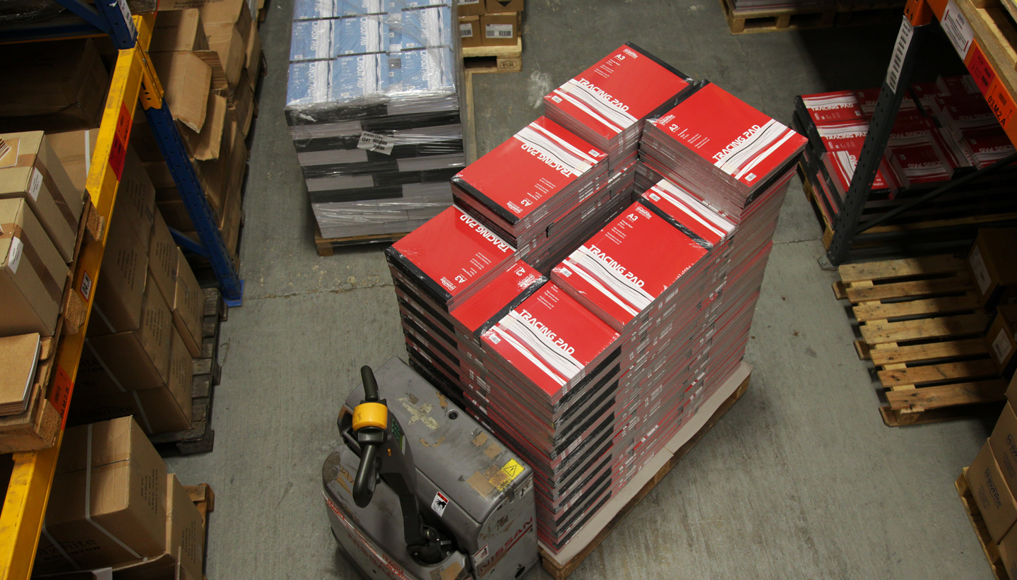 Pallet of Seawhite sketchbooks Tracing pads in the warehouse