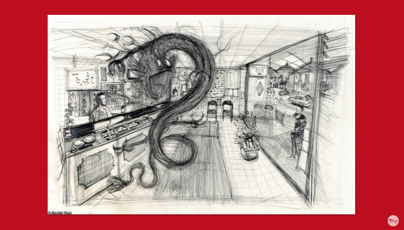 Preparatory drawing of chinese dragon in fish and chip shop by Shadric Toop