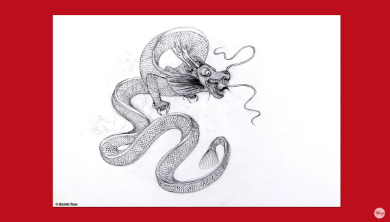 Preparatory drawing of chinese dragon by Shadric Toop
