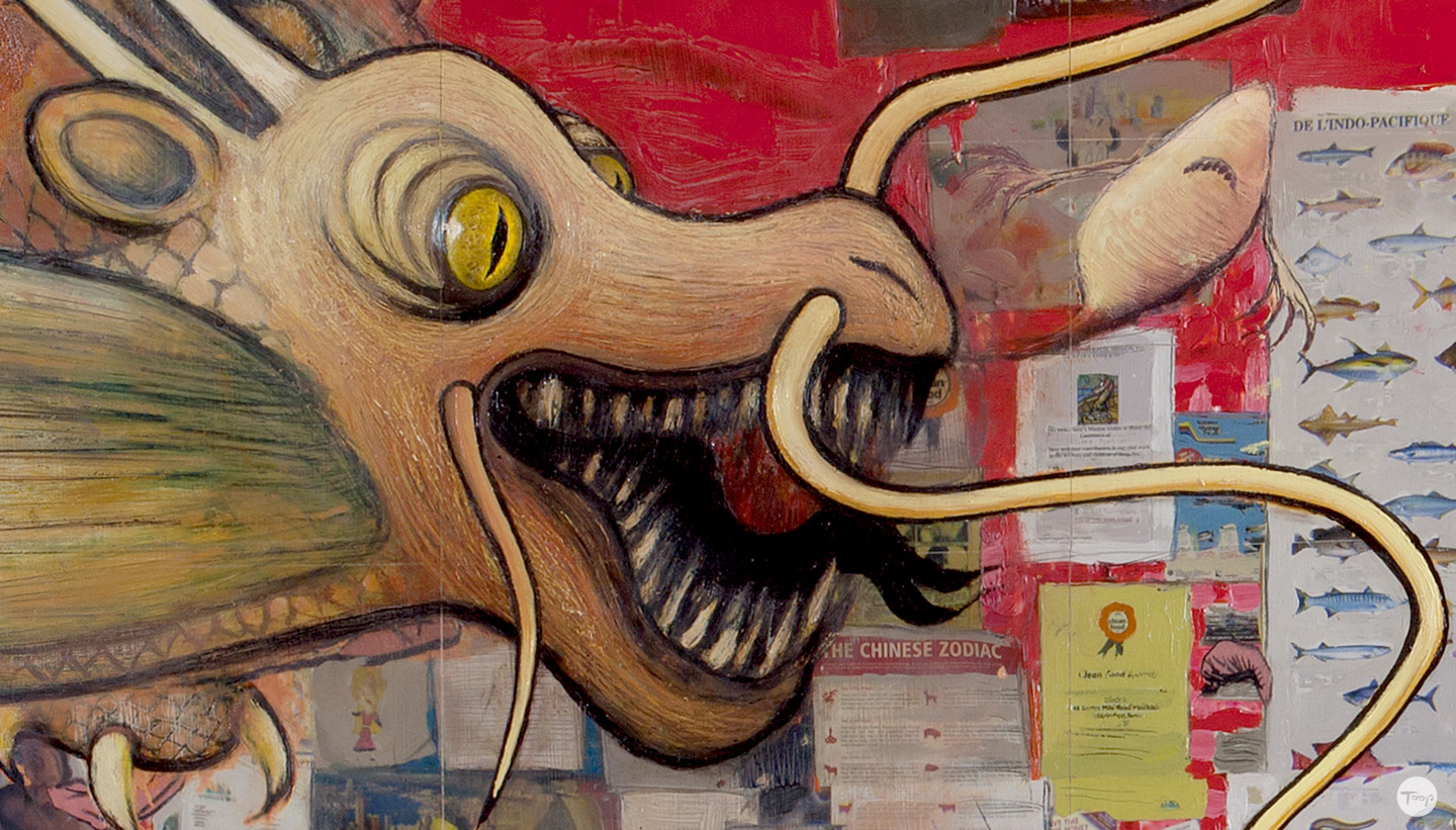 Detail of Shadric Toop's painting fish and chips featuring a dragon's head