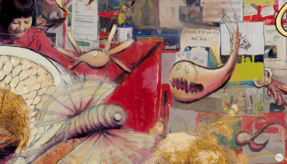 Detail of Shadric Toop's painting fish and chips featuring bizarre fish