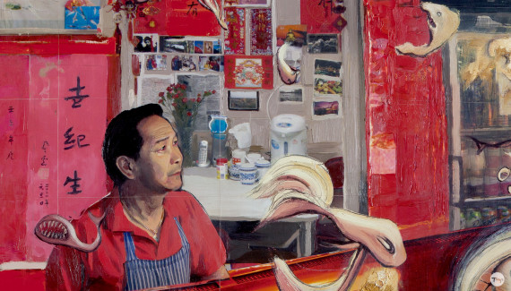Detail of Shadric Toop's painting fish and chips featuring Chinese shop owner