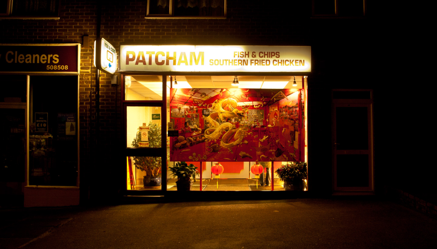 Fish and chips - painting installation by Shadric Toop - Chinese dragon in the window of patcham fish and chip shop