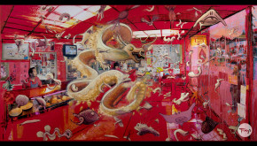 Shadric Toop's painting fish and chips which is a mostly red surreal scene inside a chip shop run by a chinese couple with a chinese dragon and other strange creatures that appear to be floating in the air