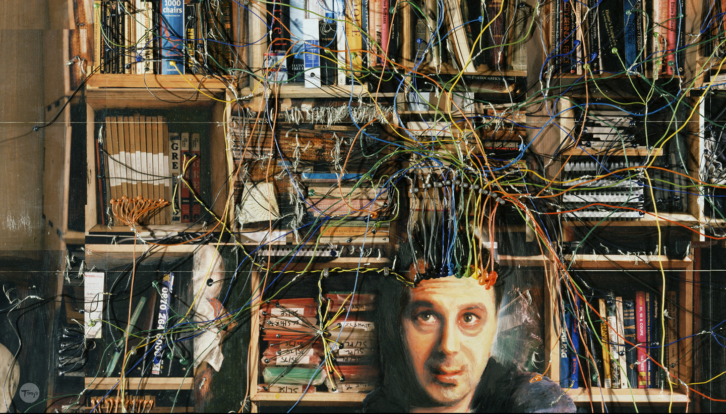 Detail of mind map showing Alan's head wired to objects on shelves