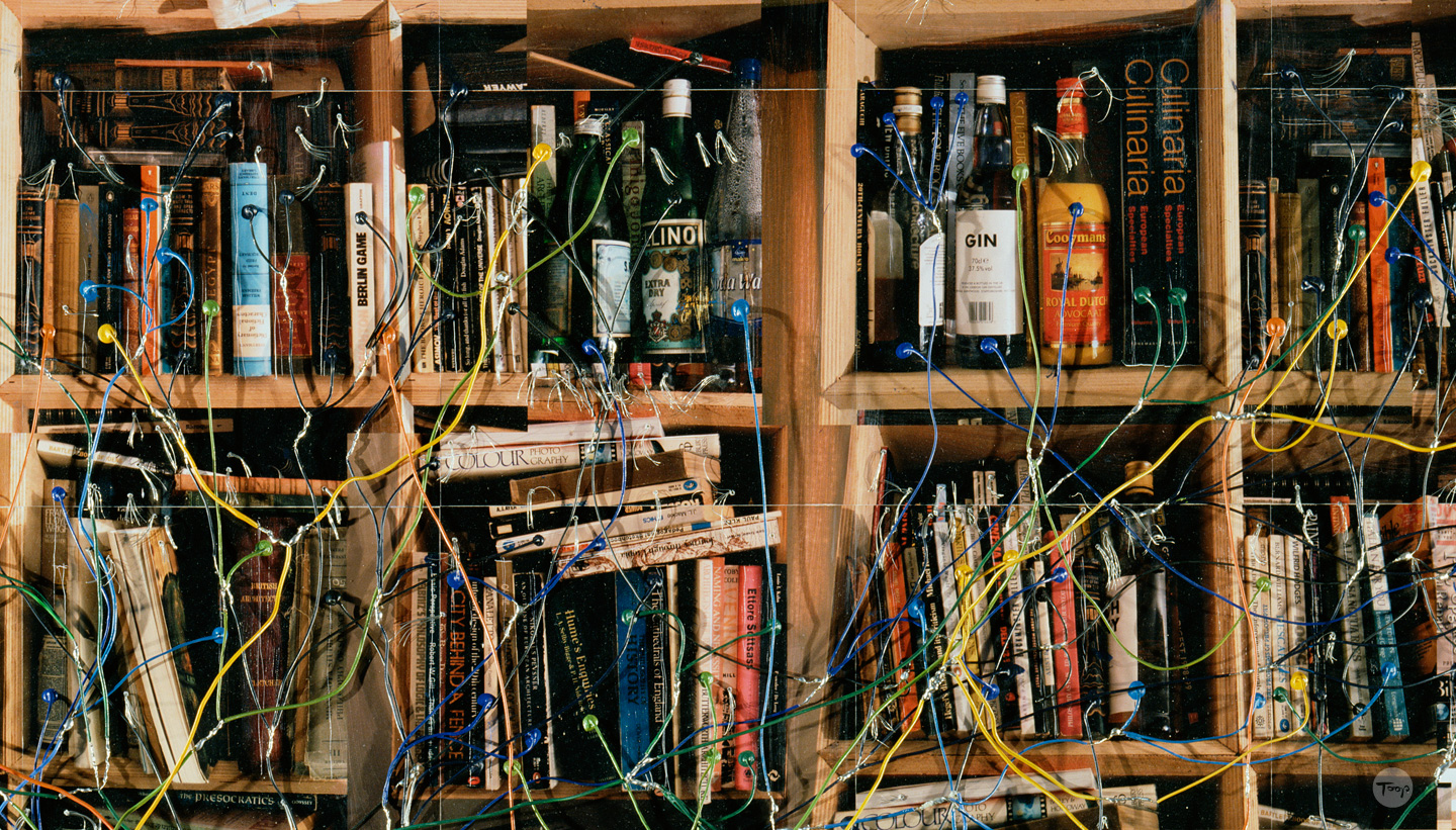 Detail of mind map showing different coloured wires connected to objects on shelves