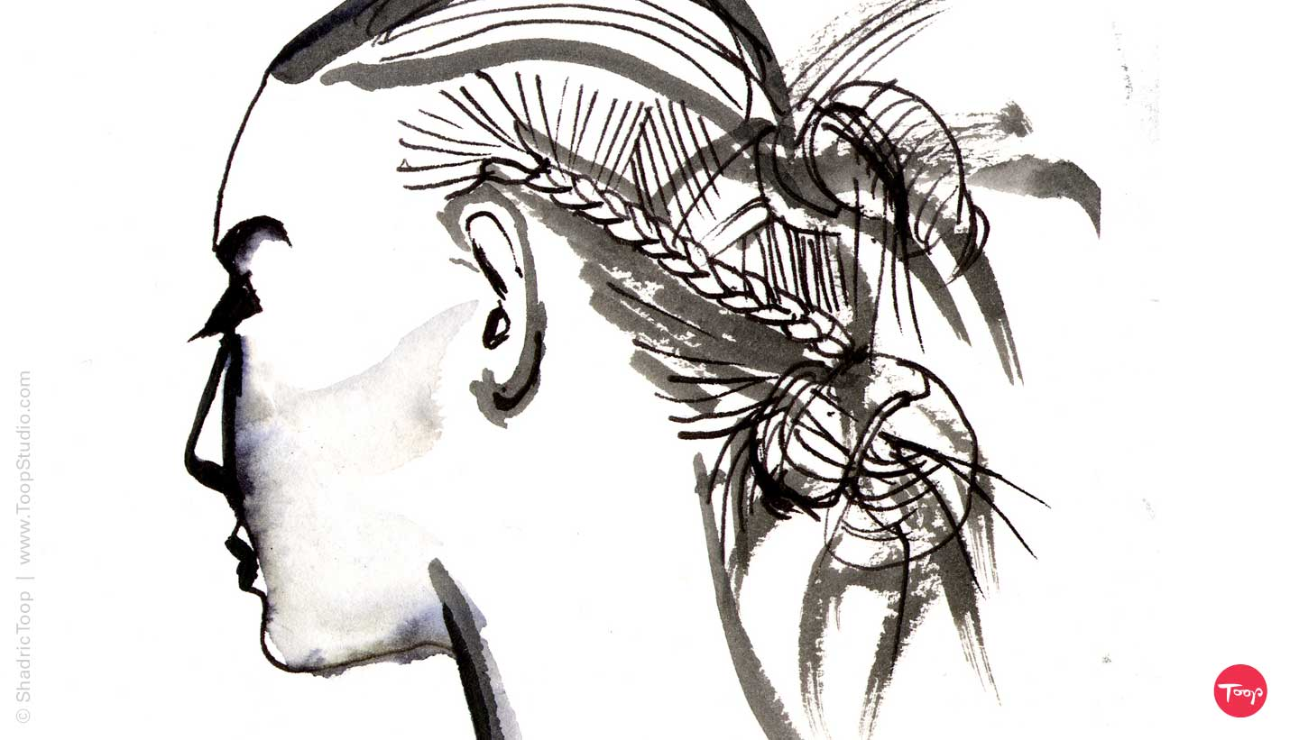 Fashion hair drawing in pen and ink by Shadric Toop