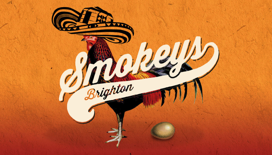 Restaurant Identity - Smokeys barbecue restaurant branding showing logo and chicken with a mexican hat laying an egg