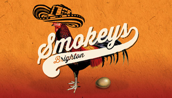 Smokeys barbecue restaurant branding showing logo and chicken with a mexican hat laying an egg