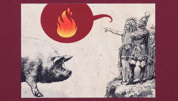 Smokeys barbecue story card hog native american
