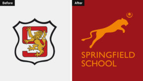 Springfield School logo before and after comparison
