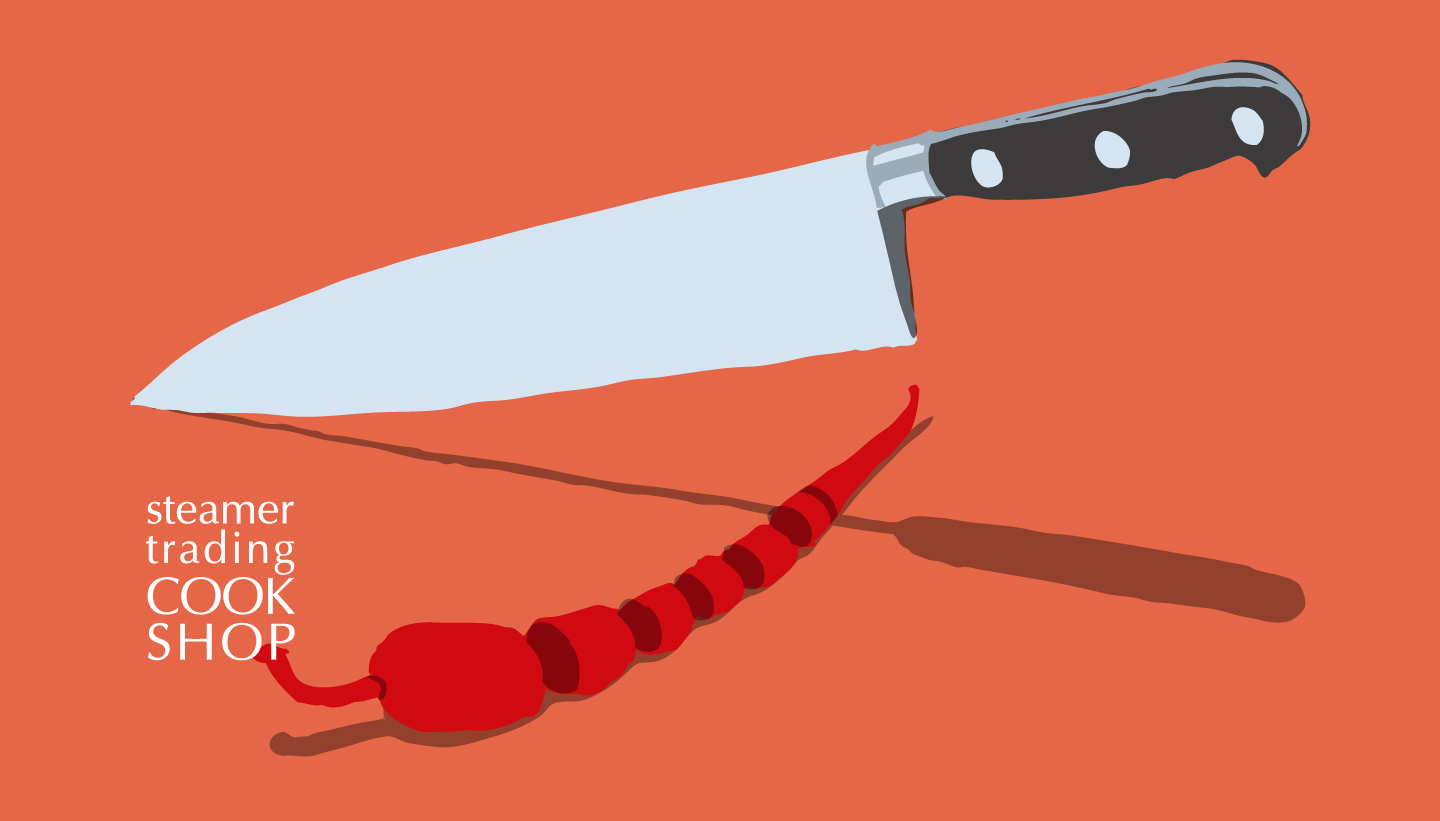Illustration of a kitchen knife cutting a red chilli