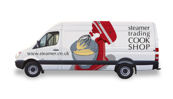 Steamer Trading Cookshop van graphics side illustration by Toop Studio