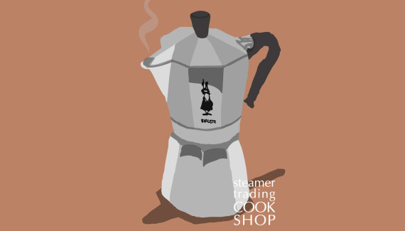 Steamer Trading illustration of Bialetti Moka Express stovetop coffee maker by Shadric Toop