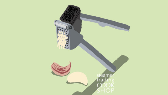Steamer trading Cookshop illustration garlic press by Toop Studio