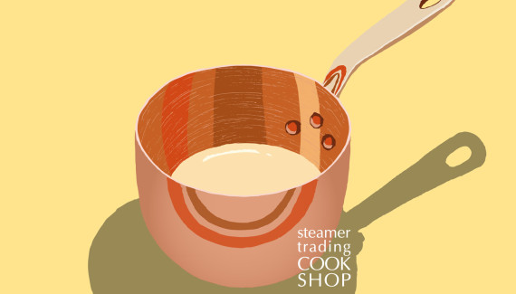 Steamer trading Cookshop illustration zabaglione copper pot by Shadric Toop