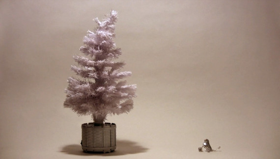 Christmas tree talking to a little bird - still from stop frame animation
