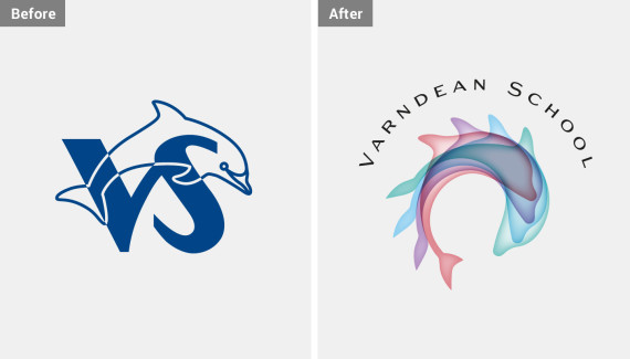 Varndean School logo before and after comparison